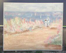 """Grand tableau toile tendu  150 cm x 120 cm """" Promenade sur les Bords de mer """""""
