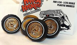 Hoppin Hydros 1/24 1/25 scale BABY Ds GOLD Rims Wheels Tires Model Cars LOWRIDER