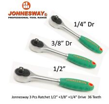 "Jonnesway 3 Pcs Professional Ratchet Set R29 1/4"" + 3/8"" + 1/2"" Drive 36 Teeth"