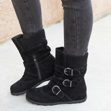 Ladies Womens Winter Warm Boots Snow Quilted Flats Fur Buckle Booties Shoes Size