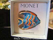 "MONET ""Blue & Orange Fish""  Collectable Enamel Keepsake Trinket Box  * NIB *"