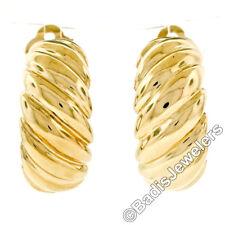 Sólido 14K Oro Amarillo Acanalado con Textura Ancho Camarón Aro Puño Omega