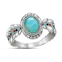 Women's Tibetan 925 Sterling Silver Turquoise Vintage Feather Ring Jewelry Gift