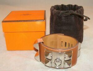 HERMES Collier de Chien Bracelet Gold Calfskin Palladium Medor Studs MSRP $1175