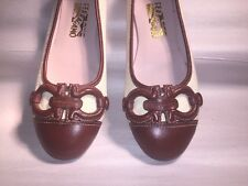 nwob authentic SALVATORE FERRAGAMO Size 37  brown calfskin & linen CAP-TOE Flat