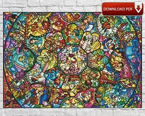 Disney Characters Stained Glass Counted PDF Cross Stitch Pattern Needlework DIY