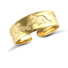 Finished Carved Dolphin Toe ring. 9ct Solid Yellow Gold Hand