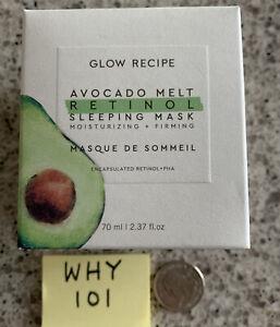 Glow Recipe Avocado Melt Retinol  Sleeping Mask Firming 2.37oz/70mL Full Sz $49