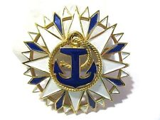 VINTAGE SIGNED WHITE AND BLUE NAUTICAL LARGE ANCHOR PIN CROWN TRIFARI DESIGNER