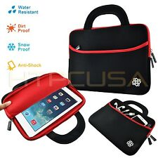 Neoprene Case Sleeve Bag With Handle Red Trim for Archos 10B Tablet Black/Red