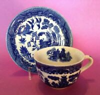 Blue Willow Cup And Saucer - Inside Decoration - Blue And White - Japan