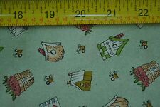 """By 1/2 Yd, Birdhouses on Green, Quilting, """"Mimi's Things"""", Pinnacle Fabric M7119"""