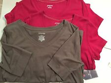 NEW Lot 3 Womens St. Johns Bay Short Sleeve Tops Shirts Sz L Large Red Brown NWT