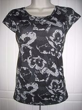 TU - Size 12 - Black White Grey - Stretch T Shirt Top Cap Sleeves - Excellent