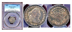 1805 10C 4 Berries-PCGS AU50-Toing Drapped Bust Dime++