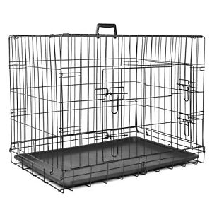 Pet Cage Folding Metal Dog Crate Strong Cat Carrier Double Door Removable Tray