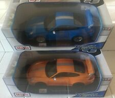 SET OF 2 PORSCHE 911 GT3 RS 4.0, 1 ORANGE & 1 BLUE BY MAISTO 1:18 FREE SHIPPING