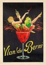 Vlan du Berni Poster Ryckers  ORIGINAL VINTAGE FRENCH DRINKS POSTER ON LINEN