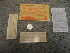 "Champ decals HO Alphabet Numbers LG-5  Railroad Roman dulux gold 5/64""  H63"