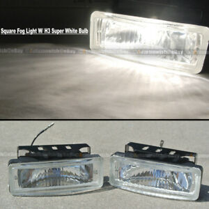For Civic 5 x 1.75 Square Clear Driving Fog Light Lamp Kit W/ Switch & Harness