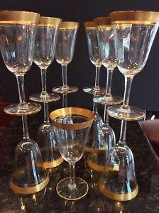 "13 Elegant Gold Encrusted Optic Crystal Wine Glasses 6-5/8"" Tiffin"