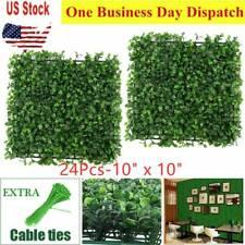 24pcs Artificial Boxwood Mat Wall Hedge Decor w/ Ties Grass Fake Fence 10x10