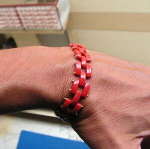 Fine Old Italy Sterling Silver Coral Red Aka  Bead Natural Vtg Bangle Bracelet