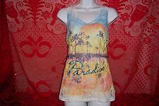 Lace See Through Paradise Sun and Palms Tank Top Shirt Juniors Large 11/13