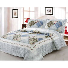 3pc set Queen/King Cotton Patchwork Coverlet Quilted Throw Bedspread