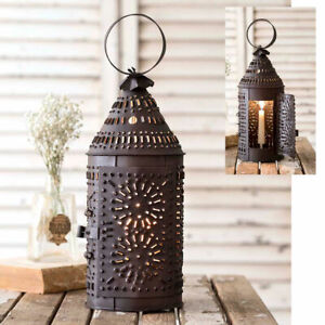 NEW PRIMITIVE PAUL REVERE Punched Tin Candle LANTERN LIGHT RUSTIC Colonial
