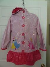 DISNEY PRINCESS GIRLS SIZE 9/10 LAVENDER/PINK HOODED RAINCOAT-FLANNEL LINING