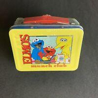 RARE Elmos Munch Club Sesame Street Tin Lunch Box - Brand New Sealed