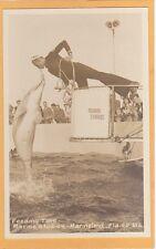 Real Photo Postcard RPPC - Sailor Feeding Dolphine Marineland Florida Military