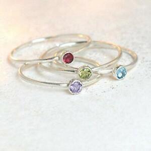 Birthstone Ring Stackable Birthstone Ring Silver Minimalist