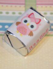 30 Baby Shower Its a Girl Pink Owl * Hershey Candy Nugget Wrappers Stickers
