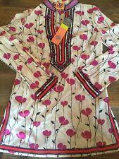 Tory Burch $325 Tory Tunic Zero 0 XXS Embroidered Top Swim Cover NWT Beige Flora