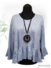 PoCo LAGENLOOK Volant Kurz-Shirt Überwurf hell-blau L XL XXL XXXL 46 48 50 52 54