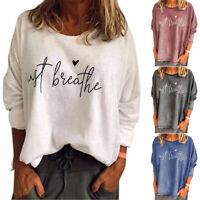 Women's Ladies Letter Print Long Sleeve Tops Loose Pullover Sweatshirt Jumper UK