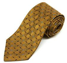 HIckey Freeman 100% Silk Woven Tie Gold Diamond Pattern Woven in England