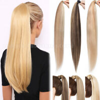 100% Human Hair Real Thick Ponytail Clip In Wrap Around Pony Tail Extensions USA