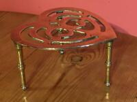 Antique Vintage Brass Heart Shaped Trivet with 3 Legs