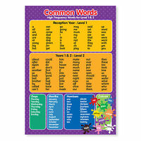A3 Laminated Common Key/Words  Level 1 & 2 Wall Chart