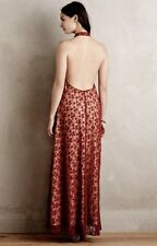 NEW Anthropologie Korovilas red nude Lace Halter Backless Maxi Dress Gown M