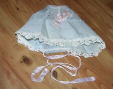 Vintage Baby Bonnet,Blue Sheer ~ Lace Trim, 0 - 3 months
