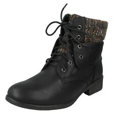 Ladies Spot on Black Flat Ankle BOOTS Style - F50613 UK 6