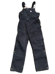 Carhartt Women's Black Weathered Duck Wildwood Bib Overalls Size XL 16/18 Short