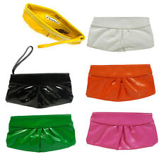 Girl Women Pouch Clutch Bag Purse Wrestle Soft Synthetic Leather PU