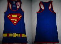 Superman Dc Comics Womens Junior Tank Top Dress Blue Shirt