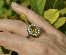 Estate Antique CITRINE Seed PEARLS RING Silver Size 6 3/4 Engagement Bride