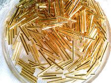 Vtg 300 LONG SPARKLE GOLD GLASS 20mm BUGLE BEADS-DEAD STOCK-WQW 022510h